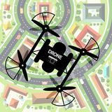 Drone with City Below. Top View Town with Camera on Mechanism. Remote Controlled Video Recording Device Stock Illustration