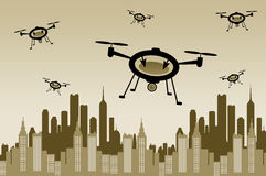 Drone city Stock Images