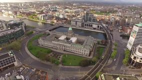 Drone cityscape of Dublin and the Custom House
