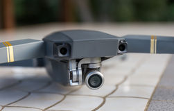 Drone close up view of the camera stock photography