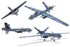 Drone. Composite renders of a 3D model of an unmanned aerial vehicle, or drone vector illustration