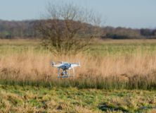 Drone is controlled and fly in the air stock photo