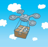 Drone copter flight delivering a box Stock Photography