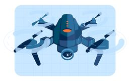 Drone copter in flight. Vector illustration royalty free illustration