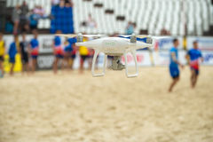 Drone copter with high resolution digital camera flying. MOSCOW, RUSSIA - JULY 22-23, 2017:Drone copter with high resolution digital camera flying at the on Royalty Free Stock Photo