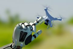 Drone and the Cyborg royalty free stock photography