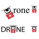 Drone Delivering First Aid Box. Technology in Medical Industry Concept. Simple vector sign, logo royalty free illustration