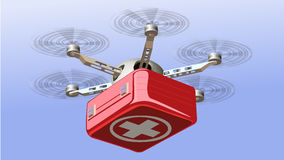 Drone Delivering First Aid Box. Technology in Medical Industry Concept Vector Illustration Stock Photo