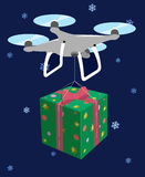 Drone delivers gift. Green box red bow. Vector Stock Images