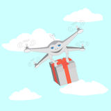 Drone delivers gifts. Sky, clouds Stock Photo