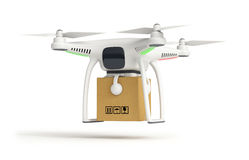 Drone delivers a parcel in front of the house Royalty Free Stock Photo