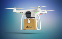 Drone delivers a parcel in front of the house Stock Photography