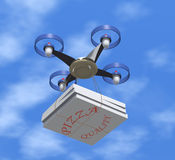 Drone delivers pizza boxes. Royalty Free Stock Photography