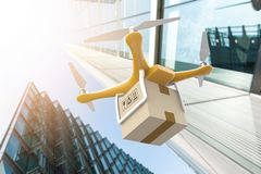 Drone with a delivery box package in a modern city Royalty Free Stock Image
