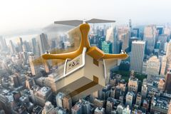 Drone with a delivery box package over a city Royalty Free Stock Images