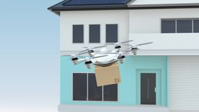 Drone delivery cardboard package to the order's home stock video footage