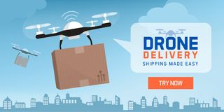 Drone delivery in the city stock images