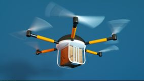 Drone delivery concept with blue background Royalty Free Stock Photos