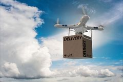 The drone delivery concept with box in air Stock Image