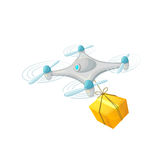 Drone delivery concept design. Modern cartoon vector illustration.. Quadcopter transportation of goods Stock Images