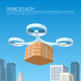 Drone delivery concept vector illustration. Quadcopter carrying a package with pizza Stock Photo