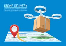 Drone delivery concept vector illustration. Quadcopter flying over a map and carrying a package Stock Photography