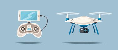 Drone for delivery and entertainments. Modern technologies. Cartoon vector illustration Stock Photography