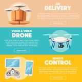 Drone for delivery and entertainments. Modern technologies. Cartoon vector illustration Royalty Free Stock Images