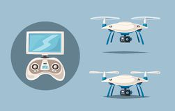 Drone for delivery and entertainments. Modern technologies. Cartoon vector illustration Stock Photos