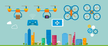 Drone delivery flat icon illustration Stock Image