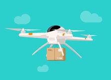 Drone delivery flying in sky shipping parcel box vector illustration. Drone delivery box vector illustration, flat cartoon drone flying in the sky shipping stock illustration