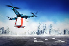 Drone delivery of gift box with the goods on airport target Royalty Free Stock Photo