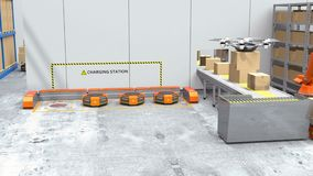 Drone delivery goods in modern warehouse