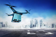 Drone delivery of metal container with the goods on airport target Royalty Free Stock Photography