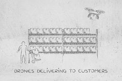 Drone delivery of online order parcel, warehouse version. Drone delivering a parcel from an online order to the customer, collecting the item at the warehouse Royalty Free Stock Photo