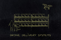 Drone delivery of online order parcel, warehouse version Stock Photography