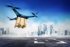 Drone delivery of paper box with the goods on airport target Stock Photography