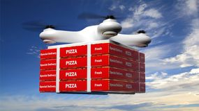 Drone with delivery pizza box Royalty Free Stock Images