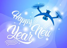 Drone Delivery Present, New Year Merry Christmas Holiday Banner royalty free illustration