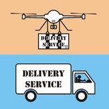 Drone Delivery Service VS Car Delivery Service Icon Vector  Royalty Free Stock Image