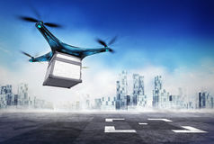 Drone delivery of steel box with the goods on airport target Royalty Free Stock Photography
