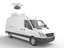 Drone delivery system. Drone and delivery van 3d rendering image Royalty Free Stock Photo