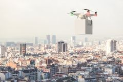 Drone delivery with white box. Fly over the town 3d rendering image stock photo