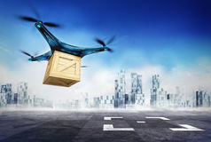 Drone delivery of wooden box with the goods on airport target Stock Images
