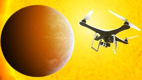 Drone with digital camera flying in front of the sun Royalty Free Stock Photography
