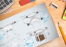 Drone DIY drawings plans. Digital composite of Drone DIY drawings plans Stock Photo