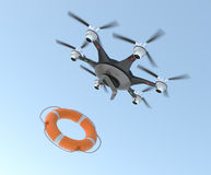 Drone dropping lifebuoy for lifesaving concept Stock Image