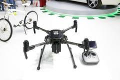 The drone of Dubai Police is on Dubai Motor Show 2017 Royalty Free Stock Photos