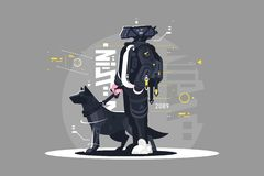 Drone dude walking with dog. Vector illustration. Robot going with doggy on leash flat style design. Futuristic services and future technologies concept stock illustration