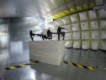 Drone Electromagnetic Compatibility EMC test in GTEM cell. Quadcopter drone electromagnetic compatibility testing inside GTEM cell royalty free stock photography